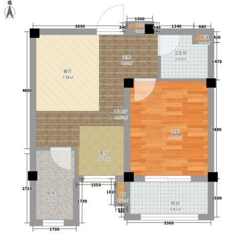 金谷鑫城三期1室1厅1卫1厨53.00㎡户型图