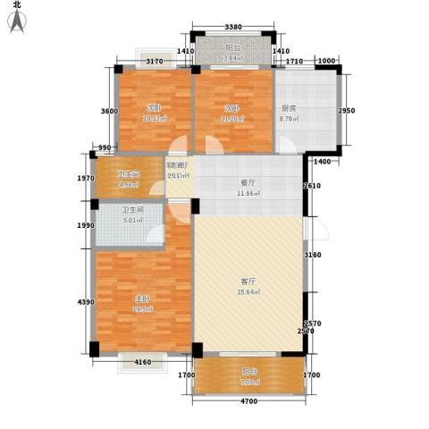 五里汉城3室1厅2卫1厨120.00㎡户型图