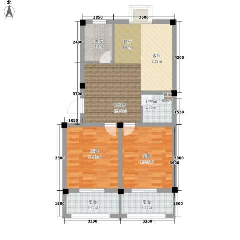 金谷鑫城三期2室1厅1卫1厨74.00㎡户型图