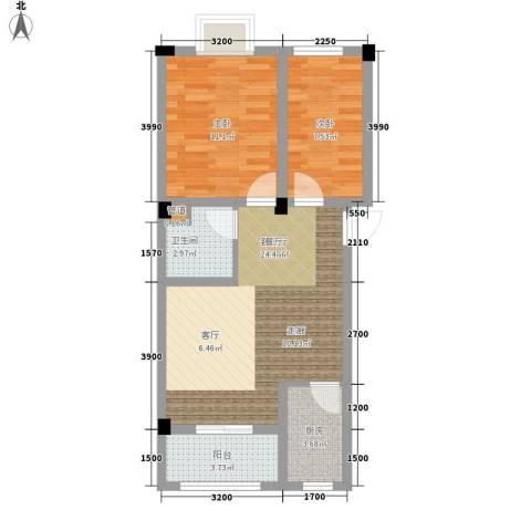 金谷鑫城三期2室1厅1卫1厨66.00㎡户型图