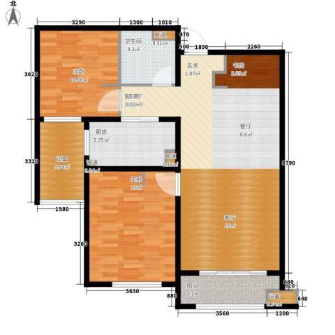 林荫大院2室1厅1卫1厨93.00㎡户型图