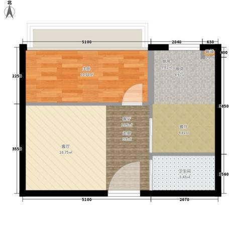 金谷鑫城三期1室1厅1卫1厨45.00㎡户型图