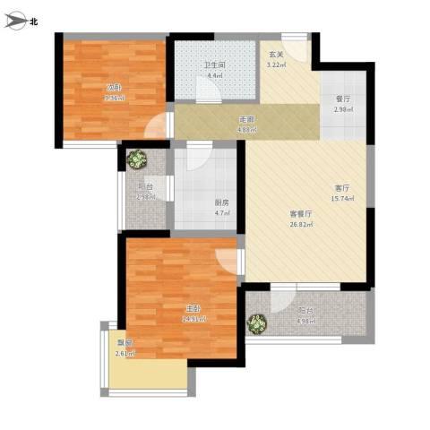 天津湾海景文苑2室1厅1卫1厨98.00㎡户型图