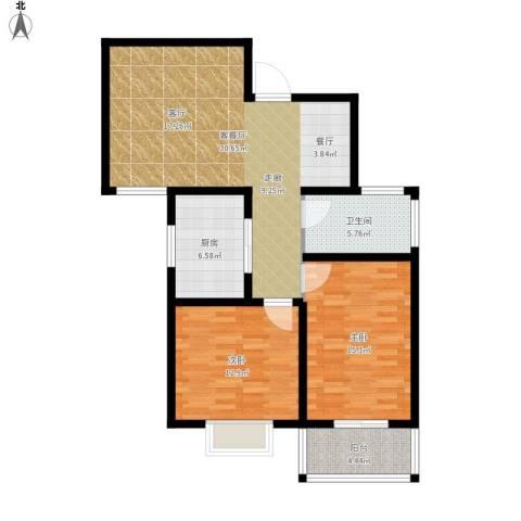 中泰嘉苑2室1厅1卫1厨108.00㎡户型图