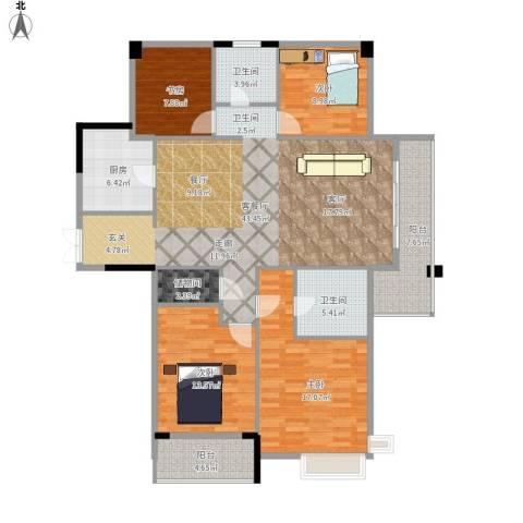 长睦家苑4室1厅2卫1厨133.82㎡户型图