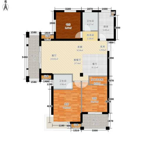 恒鑫文锦苑3室1厅2卫1厨122.00㎡户型图
