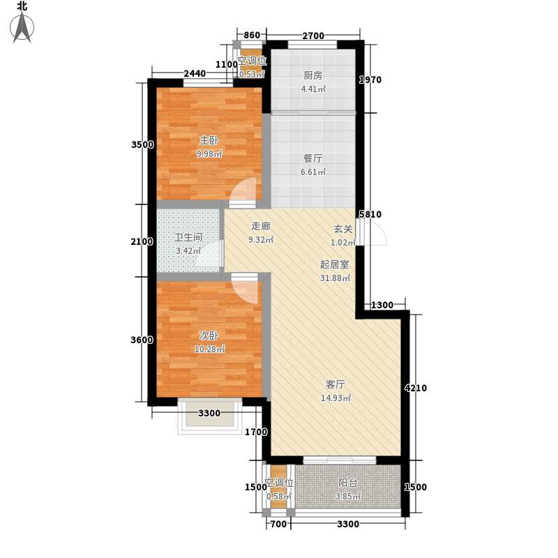 泽润天域90.13㎡4号楼B户型2室2厅