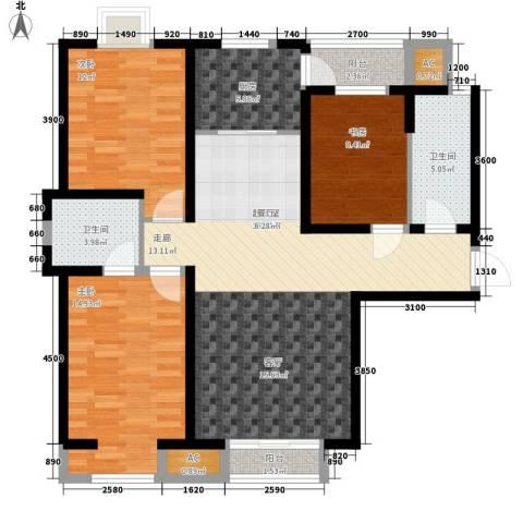 欧美风情小镇3室0厅2卫1厨128.00㎡户型图