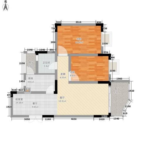 同创奥韵2室0厅1卫1厨77.00㎡户型图