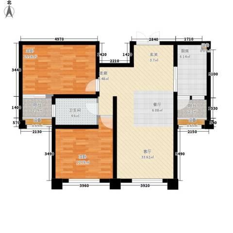 中润华侨城2室1厅1卫1厨113.00㎡户型图