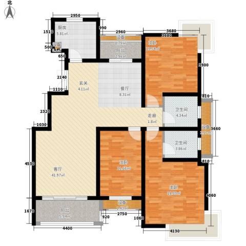 中润华侨城3室1厅2卫1厨162.00㎡户型图