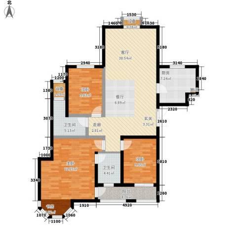 中润华侨城3室1厅2卫1厨148.00㎡户型图