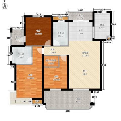 恒鑫文锦苑3室1厅2卫1厨143.00㎡户型图