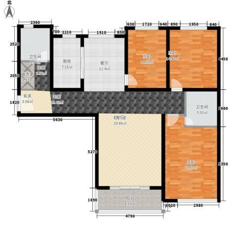 卓达星辰一号3室0厅2卫1厨146.00㎡户型图