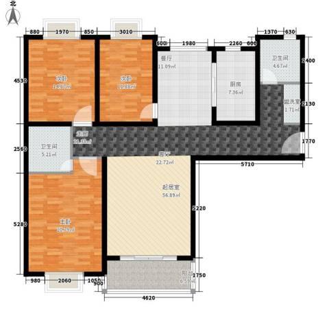 卓达星辰一号3室0厅2卫1厨144.00㎡户型图