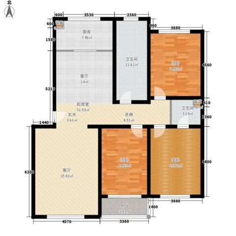 北河新城3室0厅2卫1厨138.00㎡户型图