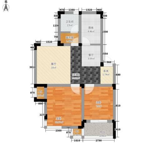航运新村2室0厅1卫1厨61.00㎡户型图
