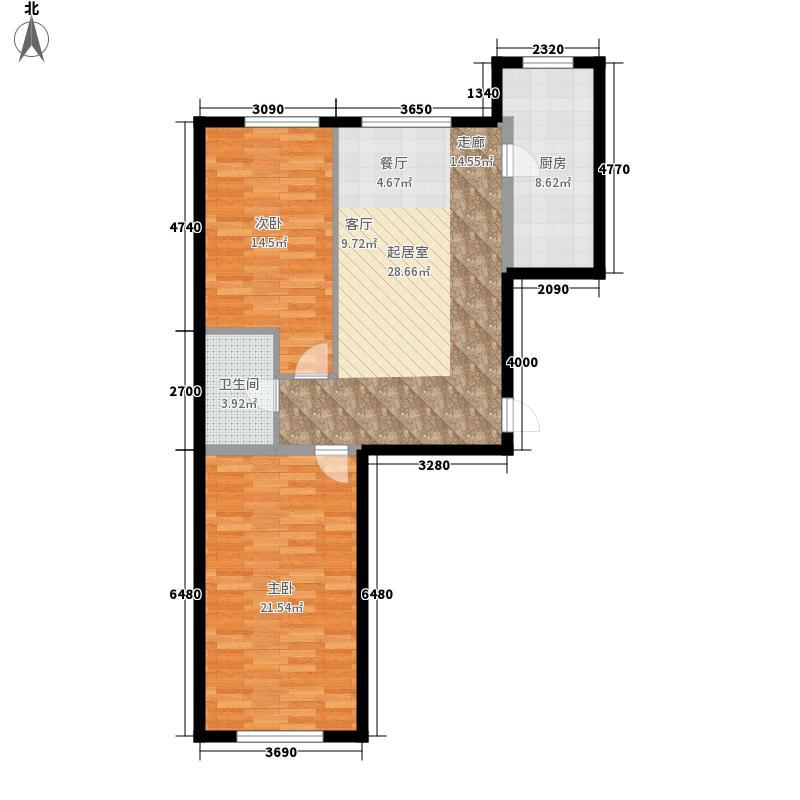 泽林苑86.25㎡户型2室2厅
