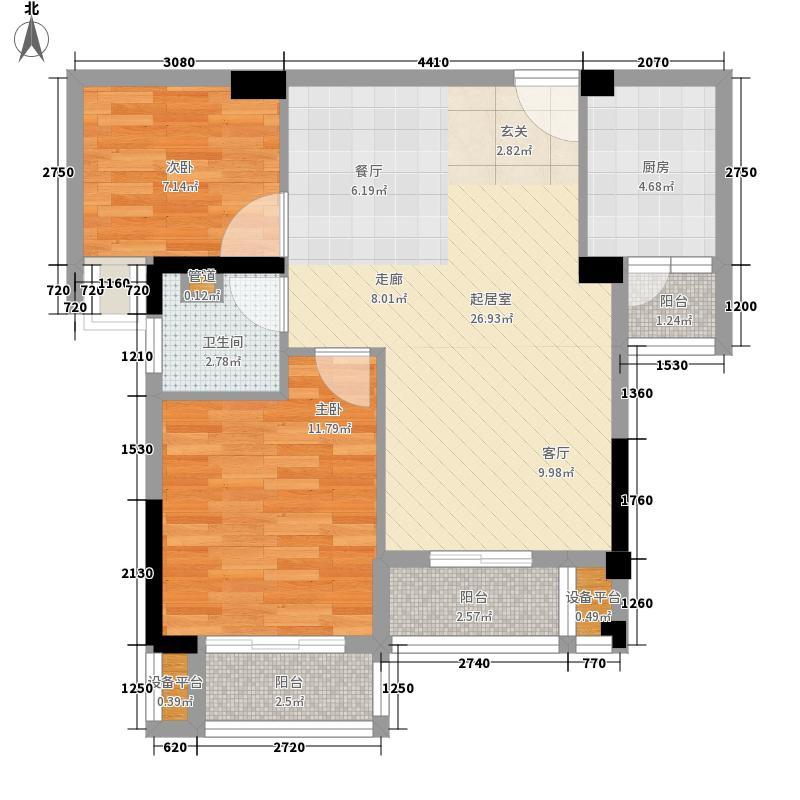 九坤新城壹号83.80㎡二号楼B3户型2室2厅