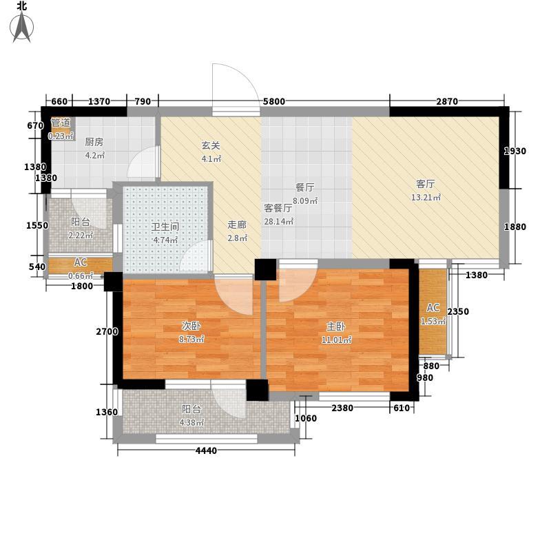 愿景城C区73.40㎡1、2号楼D户型2室2厅