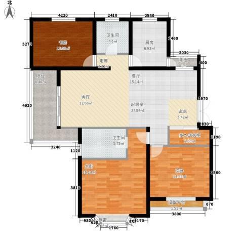 上海未来黄山新城3室0厅2卫1厨128.00㎡户型图