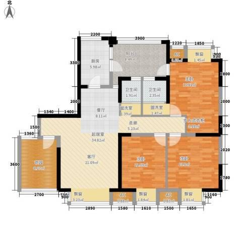 锦江帆影3室0厅2卫1厨127.00㎡户型图
