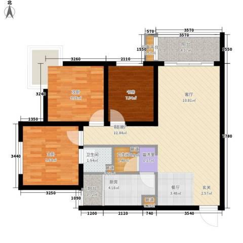 龙湖观山水3室1厅2卫1厨78.00㎡户型图
