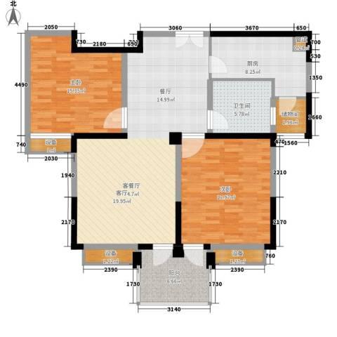 狮山花苑2室1厅1卫1厨108.00㎡户型图