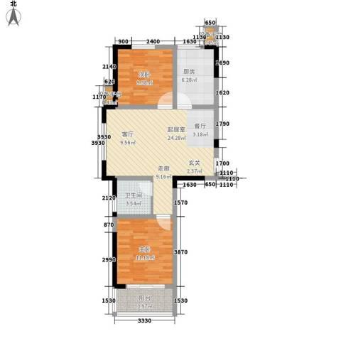 大成优盘2室0厅1卫1厨69.27㎡户型图