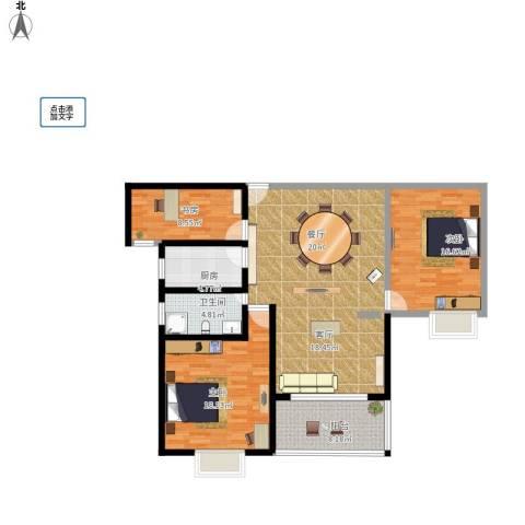 随县神龙湾3室1厅1卫1厨108.00㎡户型图