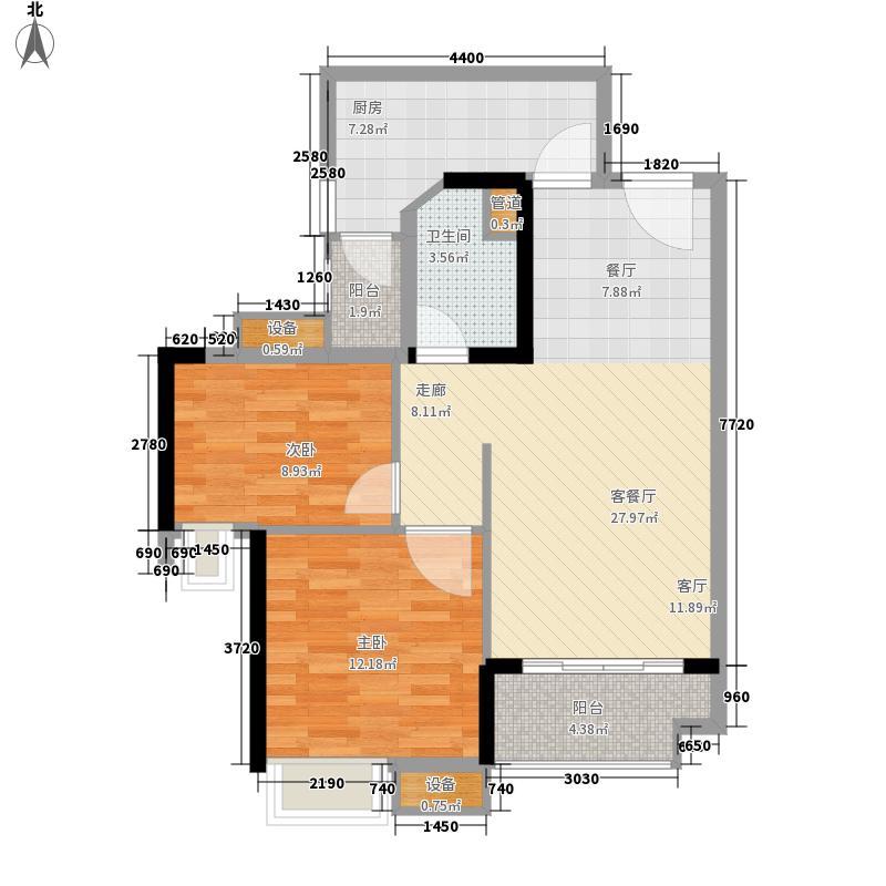 珠江嘉园78.00㎡10栋B梯02单元2室户型