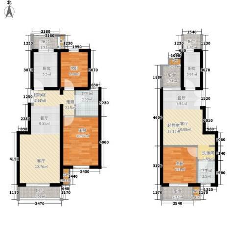 果岭假日3室0厅2卫2厨92.07㎡户型图