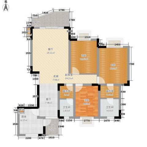 同创奥韵3室0厅2卫1厨107.00㎡户型图