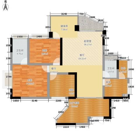 同创奥韵3室0厅2卫1厨112.00㎡户型图