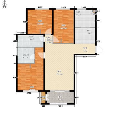 林荫大院3室1厅2卫1厨141.00㎡户型图