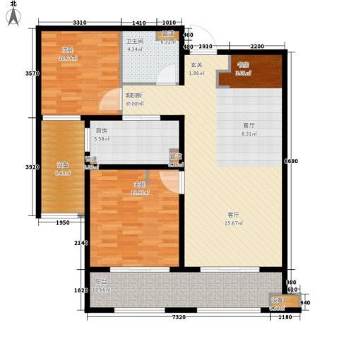 林荫大院2室1厅1卫1厨100.00㎡户型图