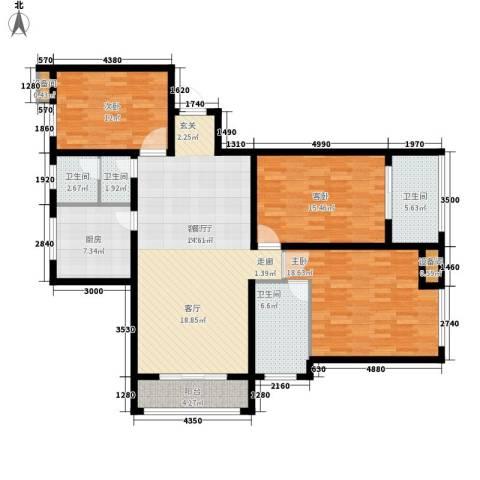 当代国际广场3室1厅4卫1厨129.00㎡户型图