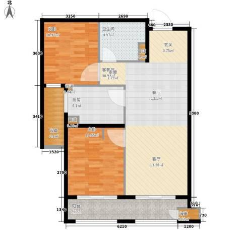 林荫大院2室1厅1卫1厨85.00㎡户型图