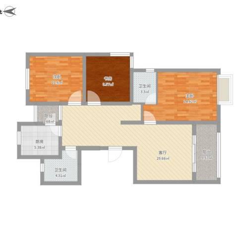 上大阳光乾泽园3室1厅2卫1厨125.00㎡户型图