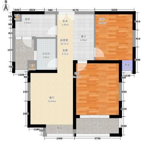 中海万锦城2室0厅1卫1厨87.00㎡户型图