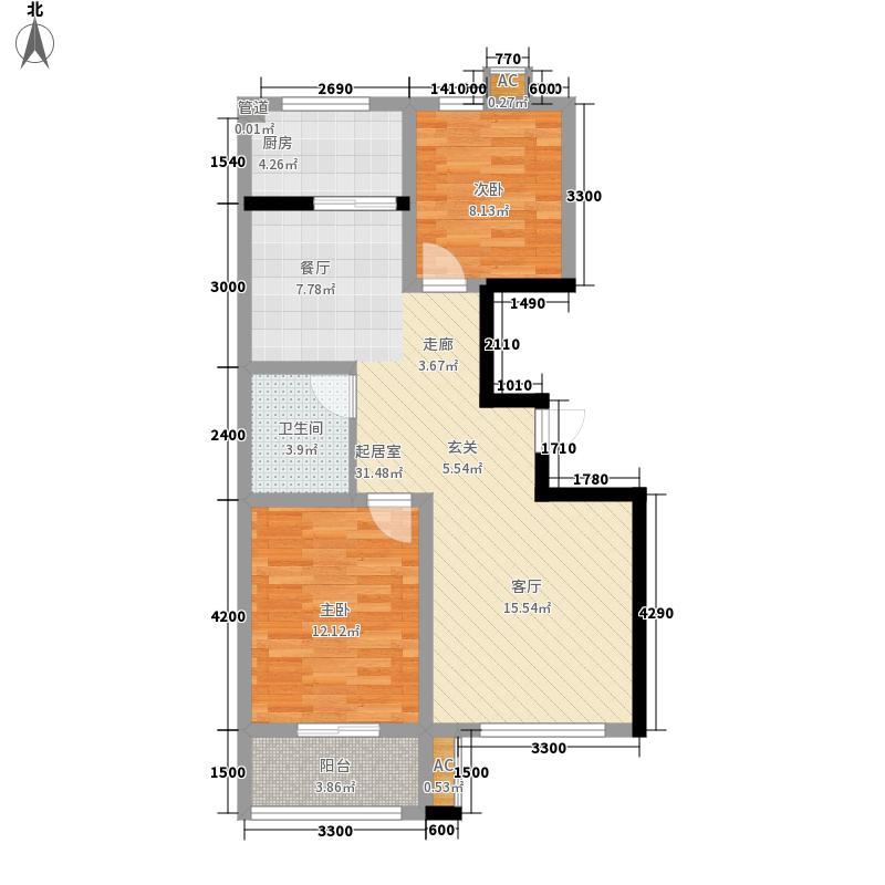 博维左岸香颂93.60㎡小高层B1户型2室2厅