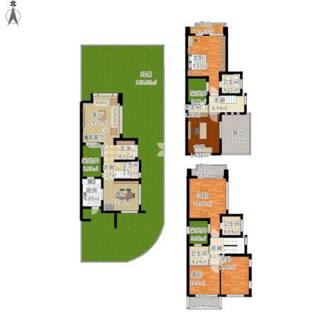 张江汤臣豪园别墅5室1厅5卫1厨454.00㎡户型图