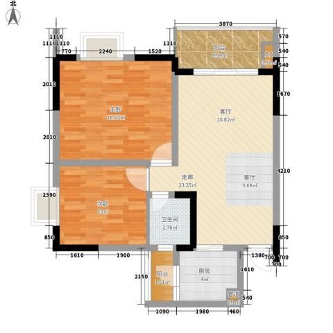 亚热带雅居2室0厅1卫1厨73.00㎡户型图