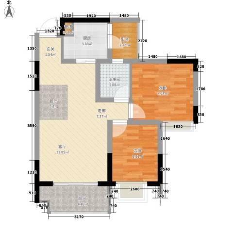 亚热带雅居2室1厅1卫1厨62.00㎡户型图