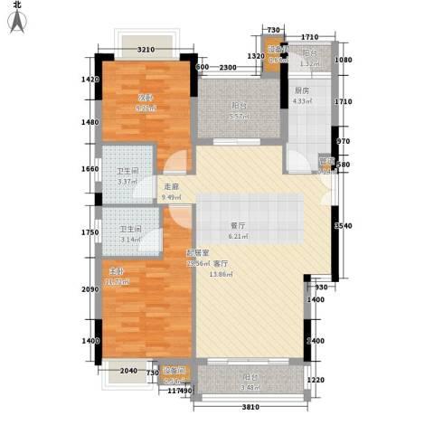 康田紫悦府2室0厅2卫1厨80.00㎡户型图