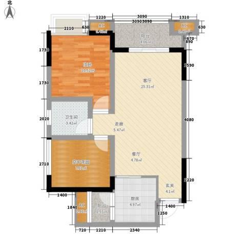 康盛园1室1厅1卫1厨88.00㎡户型图