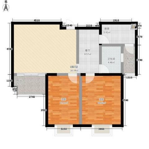 奥林・晴园2室0厅1卫1厨92.00㎡户型图
