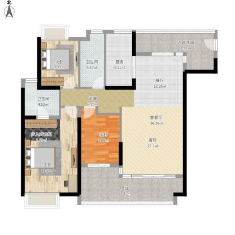 御东雅苑3室1厅2卫1厨155.00㎡户型图