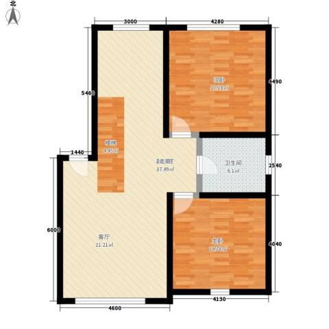 银贡山庄2室0厅1卫0厨91.00㎡户型图