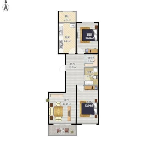 康居新城2室1厅1卫1厨91.00㎡户型图